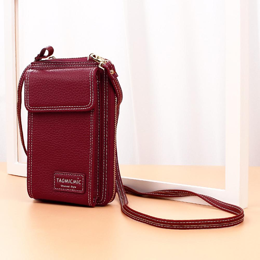 Leisure Solid Color Leather Women Shoulder Bag Cash Card Holder Phone Pouch Messager Bags