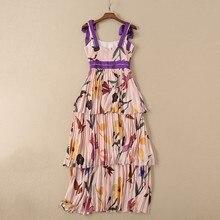 فستان شيفون منقوش أنيق بليسيه طبقات