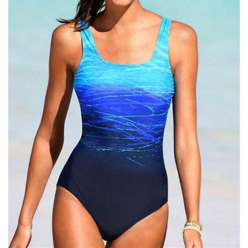Gradiente de uma peça maiô fechado fundido feminino banhista praia banho feminino para a piscina corpo maiô esportes terno de natação