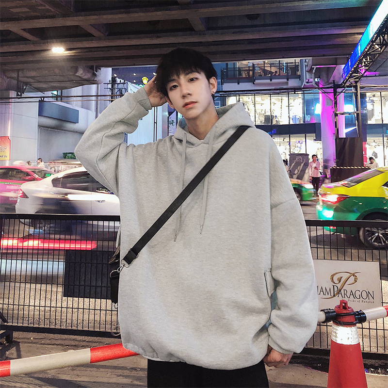 2018 Spring Men's Grey/black Color Tide Loose Coats Hooded Hoodies Cotton Clothes Casual High-quality Sweatshirts Size M-2XL