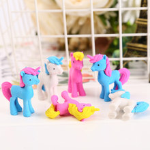 Detachable Unicorn Rubber Eraser Kawaii Trojan Horse Pencil Eraser For Kids Toys School Correction Stationery Supplies(China)