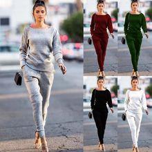 2Pcs Women's Ladies Cotton Pullovers Hoodies Sweatshirt Pants Sets Fashion Wear
