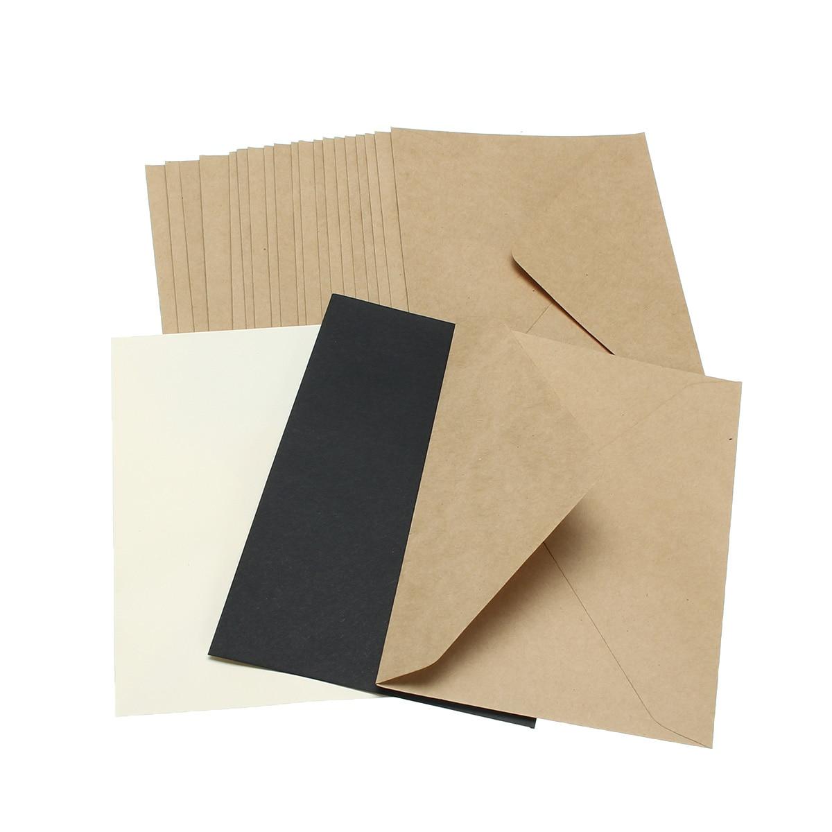 20pcs/set Classical Brown White Black Kraft Blank Mini Paper Window Envelopes Wedding Invitation Envelope Gift Envelope 3 Color