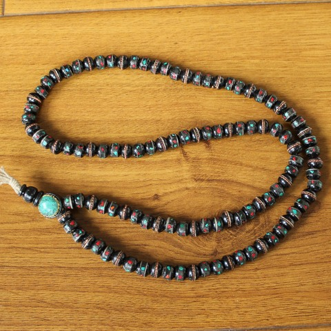 Винтажное ожерелье из черного тибетского яка ml177 молитвенные
