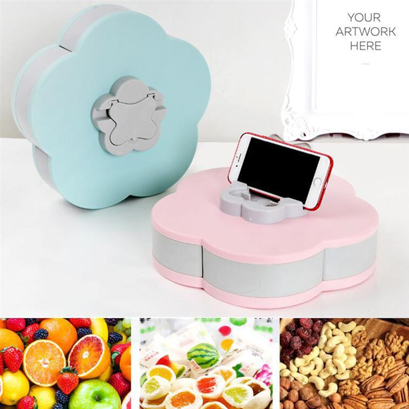 Snack Tray Petal Shaped Rotating Candy Box Five Compartments Dried Fruit Plate Snacks Serving Tray For Appetizer Nuts Salad Bar