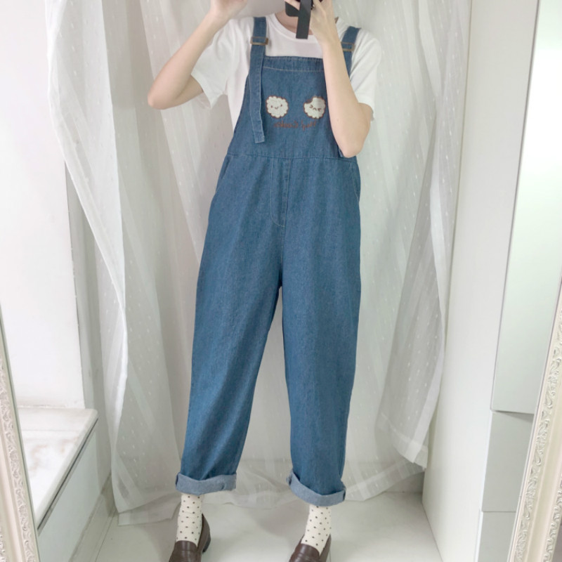 Fashion Women Denim Jumpsuit 2019 Japan Kawaii Style Cookies Embroidery Loose Jeans Blue Rompers Vintage Female Casual Overalls in Jumpsuits from Women 39 s Clothing