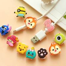 1pcCute de dibujos animados Protector de Cable para iPhone4 4S 5 5S 6 6plus 6s 6 7 8 USB de carga de datos funda protectora de Cable de línea(China)