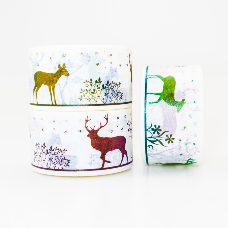 Deer Figure Pattern Washi Masking Tape Sticky Color Decorative Tape Set DIY Decoration Office Stationery Scrapbook 1PCS