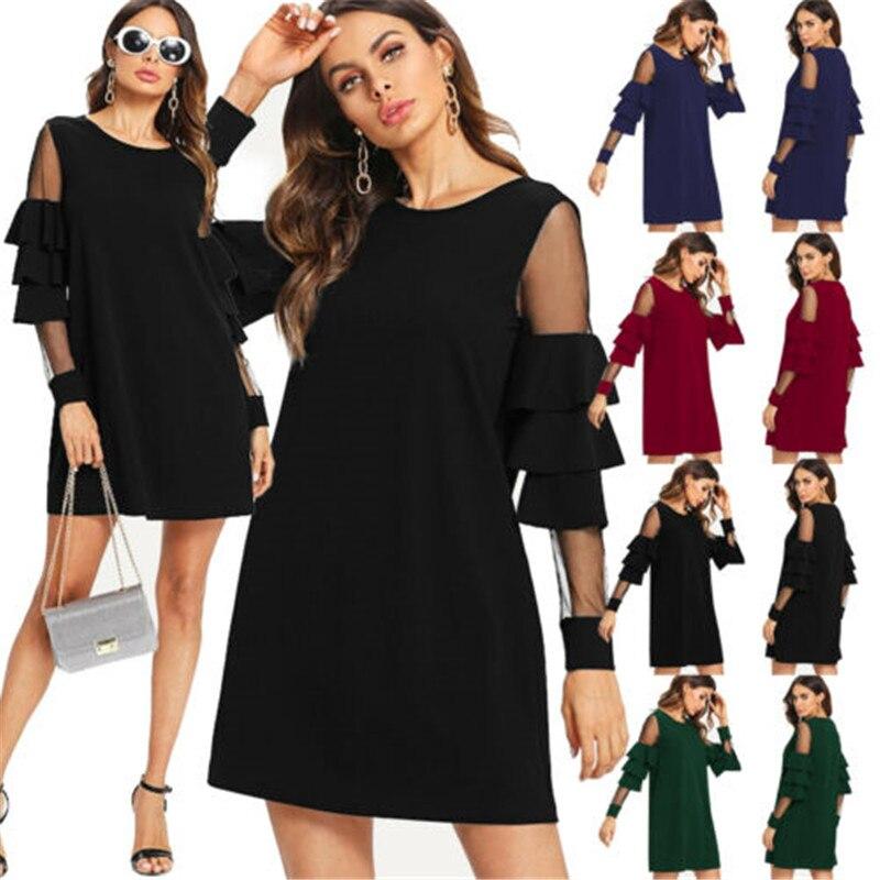 2019 New UK Women Casual Sundress Long Sleeve Ladies Loose Short Dress Tops