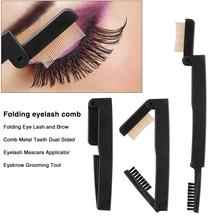 Folding Eye Lash and Brow Comb Metal Teeth Dual Sided Eyelash Mascara Applicator Eyebrow Grooming Tool купить недорого в Москве