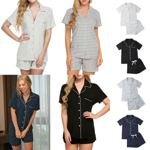 New Women Cotton   Pajamas     Sets   Summer Striped Pockets V-Neck Soft Shirts+Pants Shorts Robe Underwear Homewear Sleepwear Nightwear