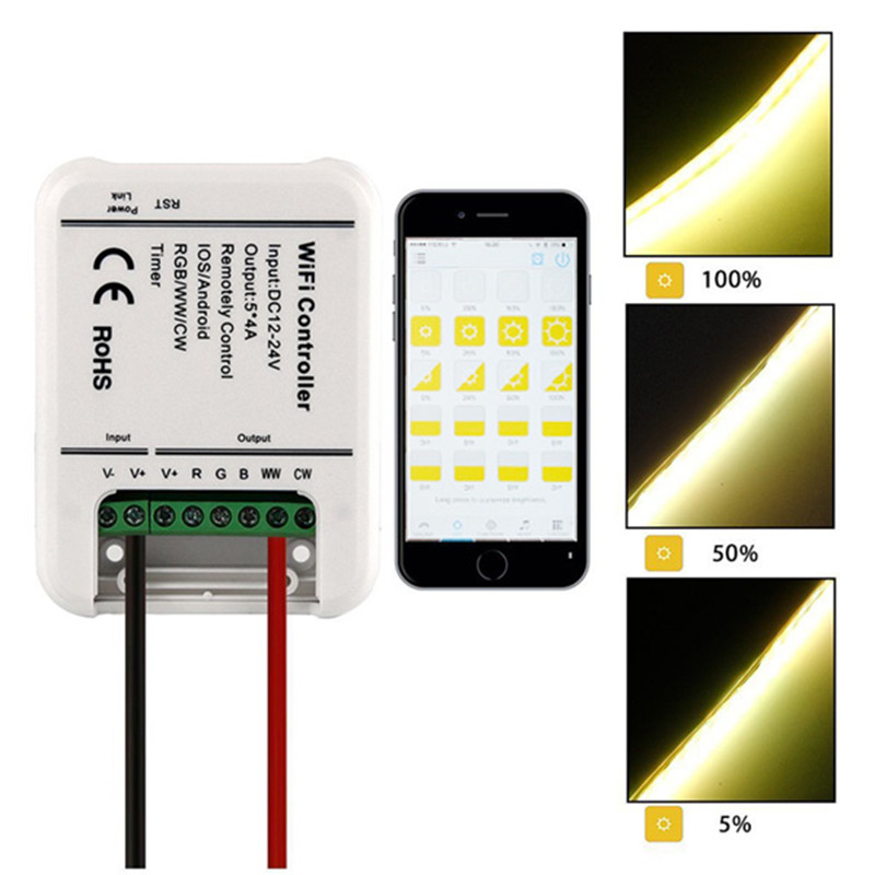 ARILUX AL-LC06 LED WIFI Smartphone Controller Romote 5 Channels DC12-24V For RGBWW Strip Light NEW