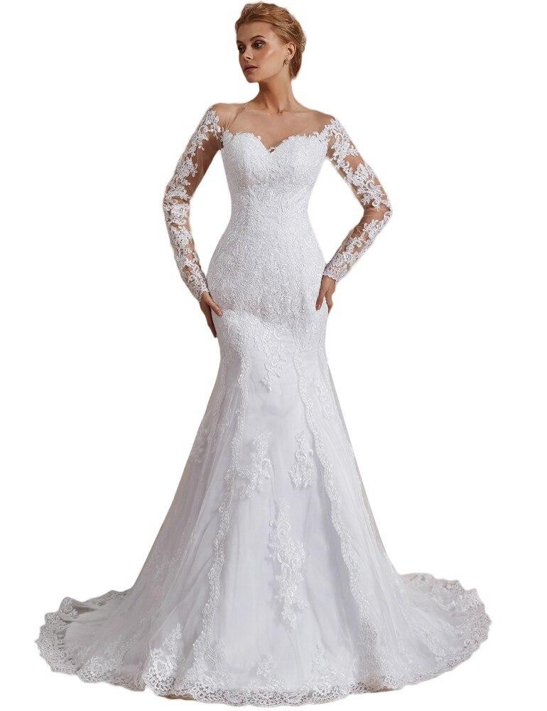 ecdb245b5e17 Vivian's Bridal 2019 Fashion Illusion Mesh Mermaid Wedding Dress Full  Sleeve Lace Appliques Empire Court Train ...