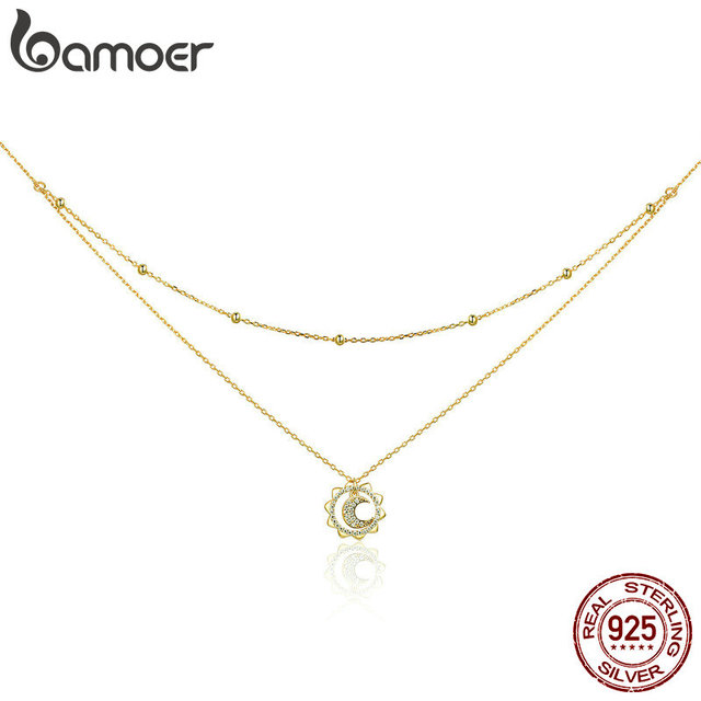 BAMOER Vintage 925 Sterling Silver Sun Moon Shape Double Layers Choker Necklaces Pendant for Women Silver Jewelry Making SCN305