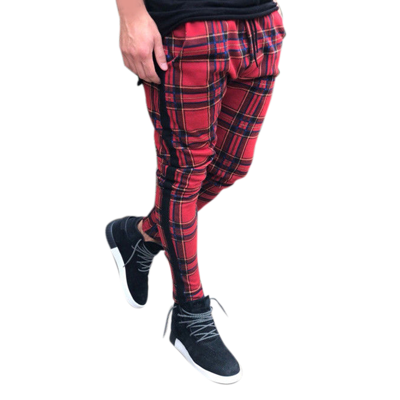 2019 Men Casual Plaid Slim Pant Man Fit Spring Autumn Long Harem Pants Pantalones Hombre Male Running Gym Pant Sweatpants M-3XL