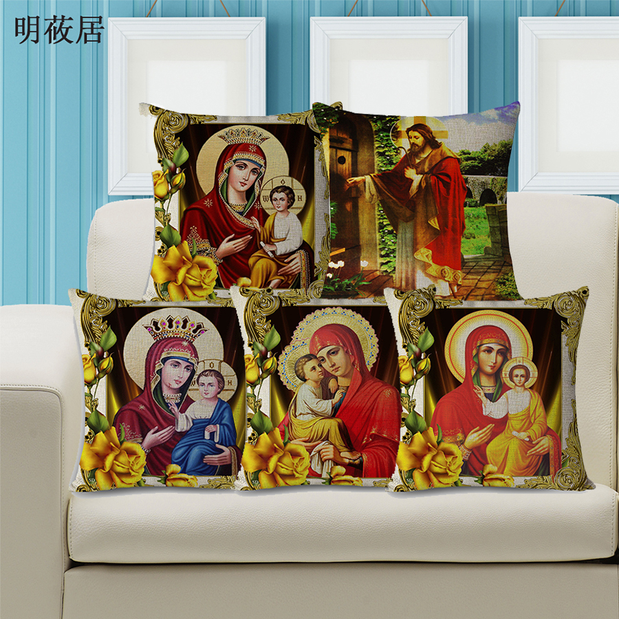 New Quality Orthodox Christianity Home Decor Pillow Cotton Linen Couch Cushion Throw Pillowcase 45x45cm Russian Style Cushions