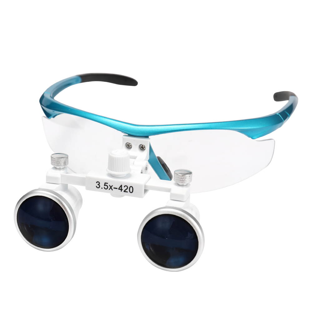Wearable Magnifier Portable 3.5X 420mm Surgical Medical Binocular Loupes Optical Glass Headset Magnifying Glasses +3W LED