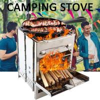Portable Camping Stove Cookware Wooden Burning Stove for Hiking Traveling Picnic BBQ