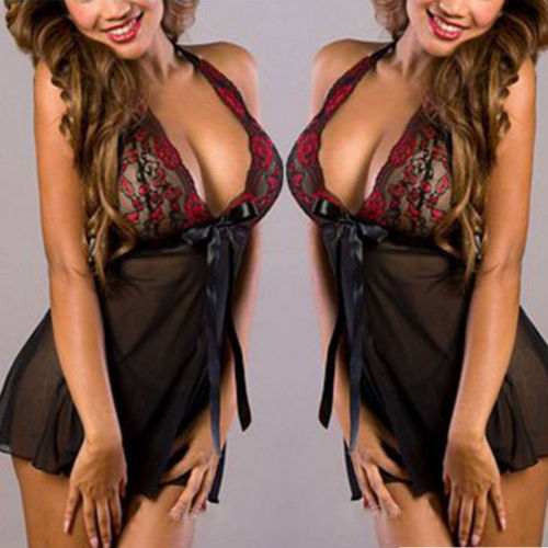 Style Womens Sexy Lace Lingerie Nightwear Underwear Robe Babydoll Sleepwear Dress