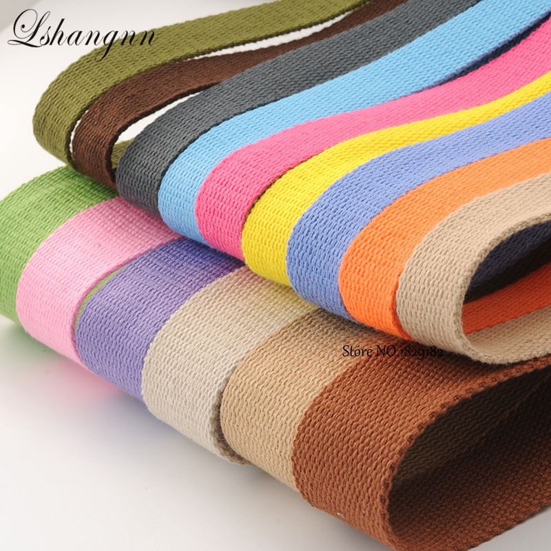 8Yard*25MM Canvas Cotton Webbing 1.5mm Thick High Tenacity Backpack Strap Webbing Label Ribbon Clothes Sewing Tape Bias Binding