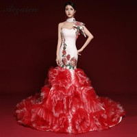 Fashion Vintage Go Show Cheongsam Modern Red Long Tailing Slim Qi Pao Women Traditional Chinese Dress Host Evening Gown Qipao