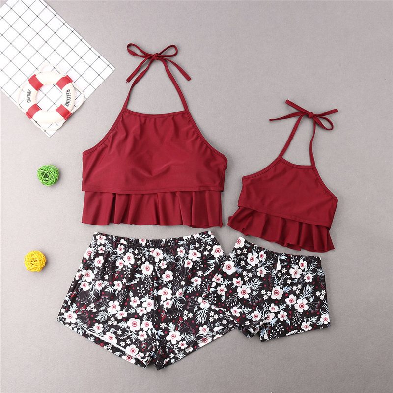 Mother Daughter Swimwear Floral Swimsuit Mother Daughter Clothes Swimming Costume Women Bikini Set Girls Swimwear Bathing Suit