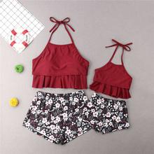 Mother Daughter Swimwear Floral Swimsuit Mother Daughter Clothes Swimming Costume Women Bikini Set Girls Swimwear Bathing Suit