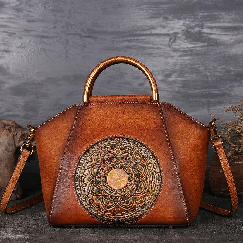 Genuine Embossed Leather Messenger Top Handle Bag Retro Handbag Totem Pattern High Quality Natural Skin Women