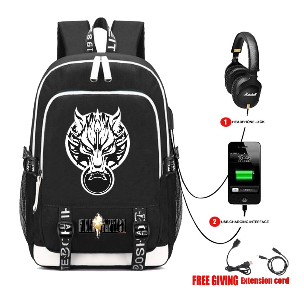 USB Charge Interface canvas Shoulder School Bags Pocketbook Travel Bags Laptop backpack Game Final Fantasy Backpack 8 styleUSB Charge Interface canvas Shoulder School Bags Pocketbook Travel Bags Laptop backpack Game Final Fantasy Backpack 8 style