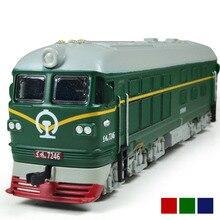 Locomotora diésel de aleación para niños, modelo de locomotora de combustión interna de aleación 1:87, tren óptico acústico, juguetes para niños