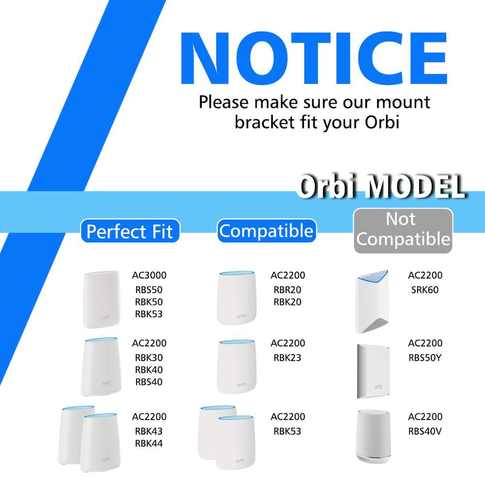 Clear Acrylic Wall Mount Sturdy Bracket For Netgear Orbi WiFi Router RBS40,  RBK40, RBS50, RBK50, AC2200, AC3000