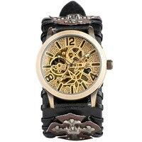 Steampunk Watch Men Automatic Mechanical Mens Watches Skeleton Self Winding Leather Retro Wristwatches reloj