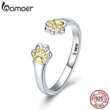 c92d7923601d BAMOER auténtica Plata de Ley 925 huellas de animales tamaño abierto dedo ajustable  anillos para las mujeres joyería de la boda .