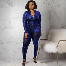 8720f0f53b4 MUXU sexy blue sequin fashion bodysuit rompers womens jumpsuit one piece  streetwear long sleeve playsuits glitter