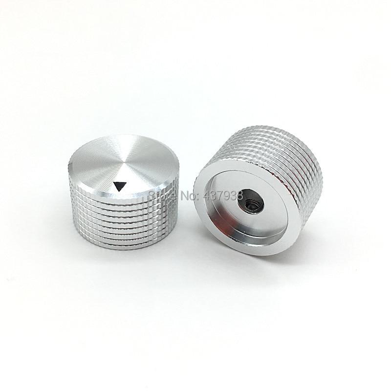 1pcs Silver Aluminum Alloy Potentiometer Amplifier Knob Switch Cap 25MM * 16MM Hole 6MM Hexagon Socket Screw