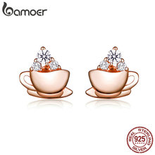BAMOER Korean Earrings Sterling Silver 925 Rose Gold Coffee and Sugar Cube Stud Earings for Women Girl Gifts with Box SCE592