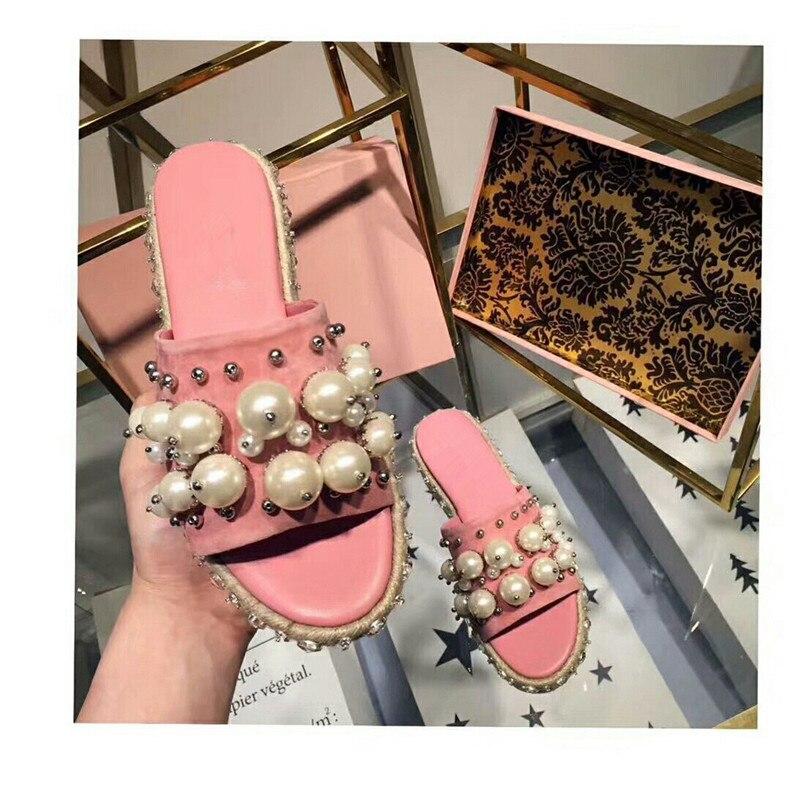 Épais Chaussures Femelle Toe Embelli pink Perle Abesire Dames D'été Black Slip Des Peep Mode L'extérieur Femme Talons Diapositives on Pantoufles À Appartements Tq0wOz
