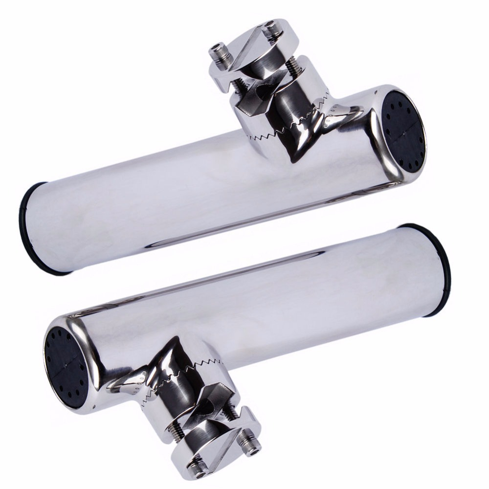 HOFFEN 2PCS Boat Stainless Steel Clamp On Fishing Rod Holder Rails 7/8'' to 1'' Tube