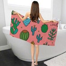 Modern Bathroom Towels Summer Beach Towel Drying Washcloth Plants Cactus Print Bath Women Home Textile