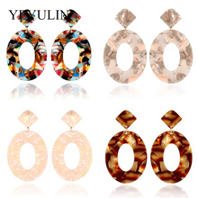 New Trendy Large Colorful Acrylic Oval Drop Earrings For Women Exaggerated Acetic Acid Resin Dangle Girl