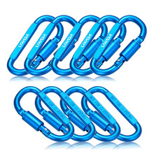 9 Pack Aluminum Alloy D-ring Locking Carabiner Clip Set Screw Lock Hanging Hook Buckle Keychain with Steel Wire Ring for Camping(China)