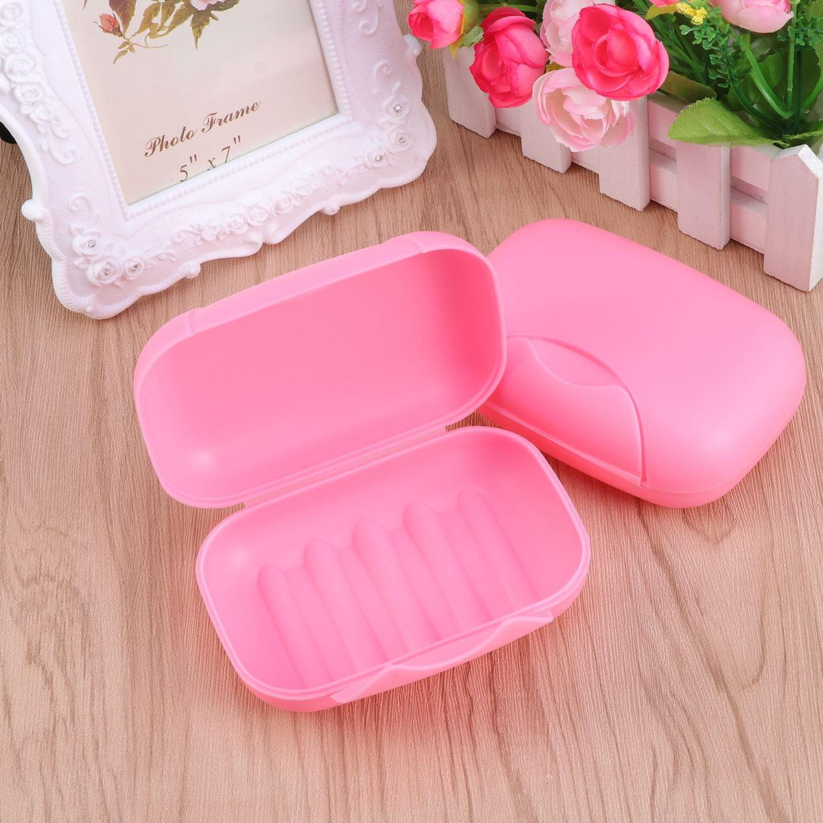 Creative Portable Soap Dish Box Soap Holder Container Traveling Sealed Soap Case Size L (Pink,Black)
