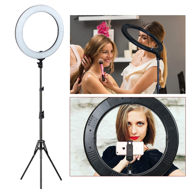 ZOMEI 18 Camera Photo Studio Video Led Selfie Ring Light Photographic Lighting Dimmable Lamp for Makeup YouTube Video Shooting