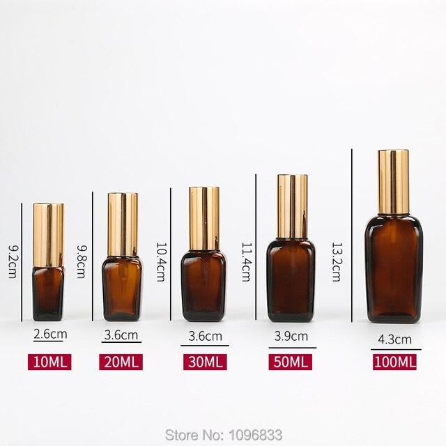 Bouteille de pulvérisation de bouteille de Lotion en verre flacon carré ambre bouchon dor emballage cosmétique contenant des bouteilles dhuile essentielle 10/35/100 ML