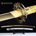 RYONGYON ручной работы Катана настоящий меч острый подлинный японский самурайский меч Япония ниндзя меч 1045 сталь Полный Тан Золотой Клинок 521