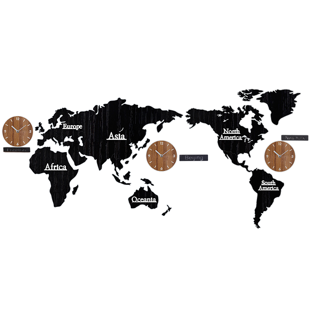 Wood World Map Time Non Ticking Silent Wall Stick Clock DIY Home Decoration Multifunction Combination 3D Wooden Wall Sticker