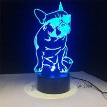 3D French Bulldog LED Night Light Pet Puppy Dog With Sunglass