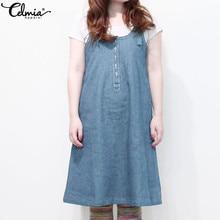 Celmia Sexy Sleeveless Denim Dress Women Plus Size Sundress Sarafan 2019  Summer Ladies Loose Casual Overalls ae717e1cfa7e