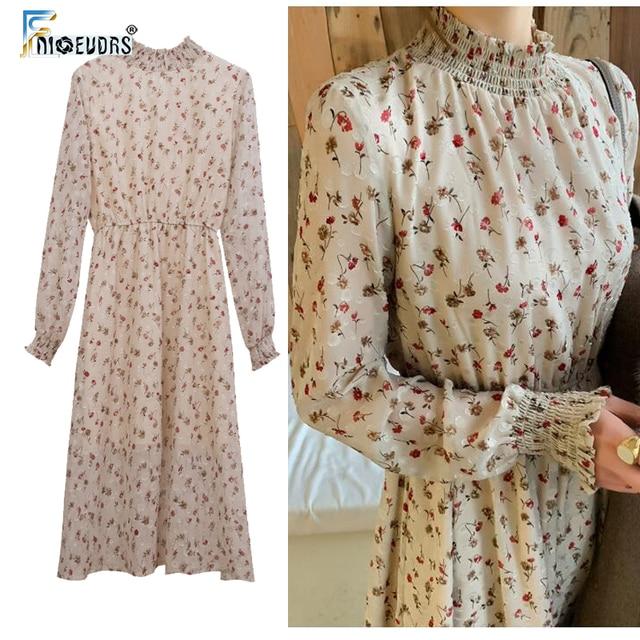 cc5f21110e Vintage Dresses Women Fashion Long Sleeve Korean Style 2019 Design Slim  Waist Floral Printed Chiffon Flower
