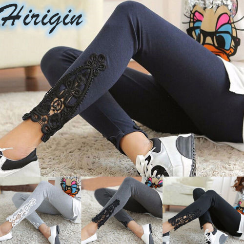 Spring Women Casual Ladies Lace Hollow Out Cotton Stretch Leggings Elastic High Waist Skinny Long Pants One Size